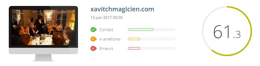 score SEO - xavitch magicien - site réalisé par c. m. lewden